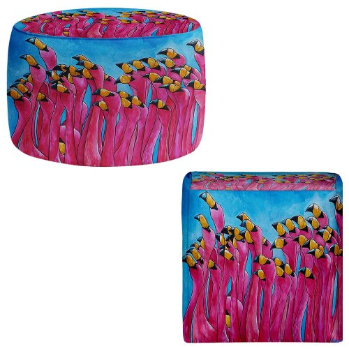 Foot Stools Poufs Chairs Round or Square from DiaNoche Designs by Patti Schermerhorn Peace Love Flamingos by DiaNoche Designs