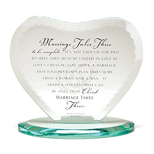 Marriage Takes Three Heart Shaped Black Letter 7 x 7.5 Glass Table Top Sign ()