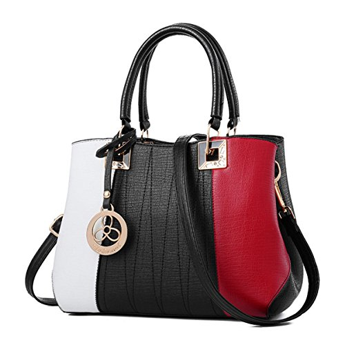 RUIREN Fashion Colorblock Bag Messenger Bolso de Hombro cuadrado negro