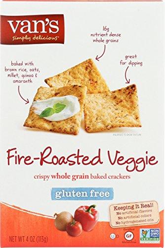 Van's Simply Delicious Gluten-Free Crackers, Fire-Roasted Veggie, 4 (Gluten Free Crackers)