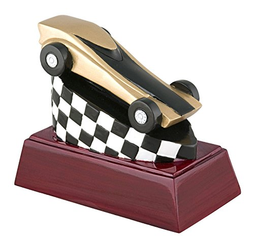 Pine Wood Derby Trophy (Pinewood Derby Color Resin Trophy - Detailed Gold & Silver Finish - Customize Now - Personalized Engraved Plate Included & Attached to Award - Perfect Racing Award Trophy - Decade Awards)