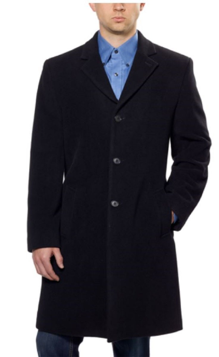Hathaway Platinum Men's Wool & Cashmere Jacket Top Coat Woven in Italy (46R, Black) by Hathaway Platinum