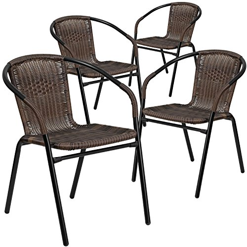 Flash Furniture 4 Pk. Dark Brown Rattan Indoor-Outdoor Restaurant Stack Chair (Chair Long Patio)