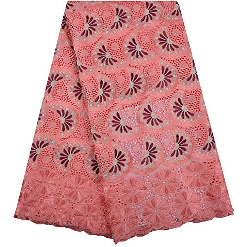 KALOOKDA African Dry Lace Fabric for Men Cotton Lace French Lace Fabric with Stones Swiss Voile Lace in Switzerland for Party,Wedding (Color : Light Pink, Size : 5 Yards) (High Quality Swiss Voile Lace From Switzerland)
