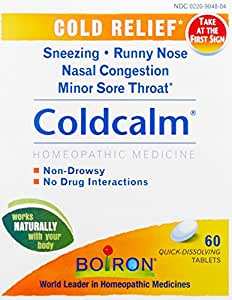 Boiron Coldcalm Cold Relief Medicine, 60 Tablets (Pack of 3). Quick-Dissolvin for Sneezing, Runny Nose, Nasal Congestion and Minor Sore Throat. Non-drowsy Cold Medicine, Natural Active Ingredients