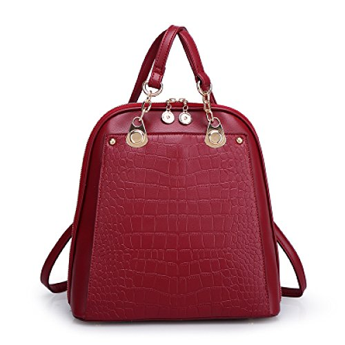 Shoulder Winered College Ladies Backpack Zipper Woman Travel Bag Of Fashion xq07xwnt4