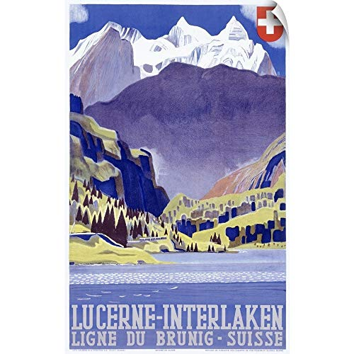 CANVAS ON DEMAND Swiss Alps Lucerne Interlaken, Vintage Poster Wall Peel Art Print, 18