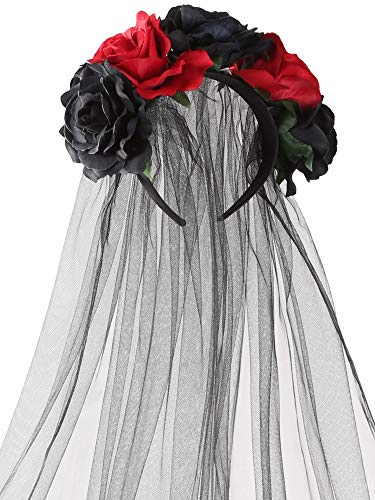 Jovitec Rose Headband Floral Crown Flower Veil Headpiece for Day of The Dead Halloween Costume (Red and Black)