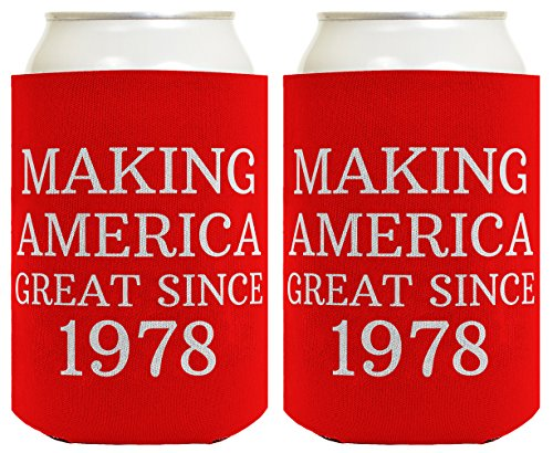Republican Gifts for 40th Birthday Making America Great Since 1978 40th Birthday Gag Gifts for Republican Party 2 Pack Can Coolie Drink Coolers Coolies - Great Gag Gift