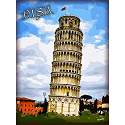 Leaning Tower of Pisa Tuscany Region Italia Italy Italian European Europe Travel Advertisement Art Poster Print. Measures 10 x 13.5 inches