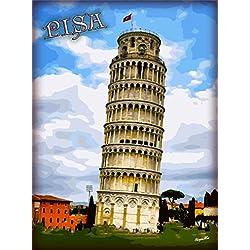 Leaning Tower of Pisa Tuscany Region Italia Italy Italian European Europe Travel Advertisement Art Poster Print. Measures 10 x 13.5 inches