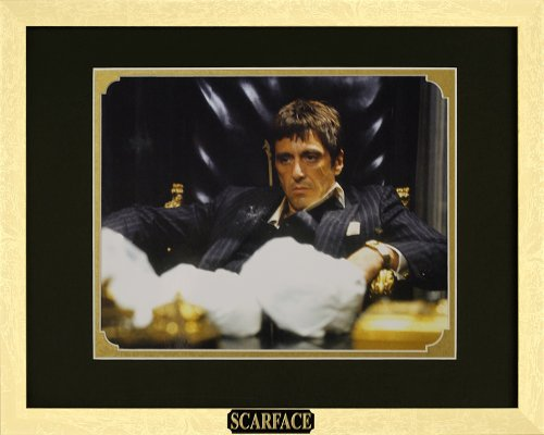 Scarface - Al Pacino as Tony Montana. Framed Photo in the Custom Made Modern Scratched Gold Wood Frame (15.5 x 12.5)