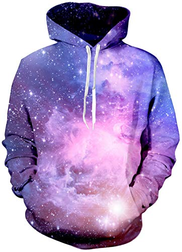 Mens Sweatshirt Hoodies Realistic 3D Printed Universe Dream Purple Galaxy Novelty Starry Light Graphic Graffiti Fleece Pullover Sweater Kangaroo Pocket Crew Neck Warm Girl Boy's Loose Fit Winter Hoody