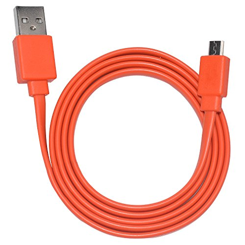Orange Cable Power Cable - Tour Flat Charging Power Supply Cable Cord Line for JBL Wireless Speaker (Orange)