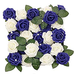 Meiliy 60pcs Artificial Flowers Navy + Ivory Roses Real Looking Foam Roses Bulk w/Stem for DIY Wedding Bouquets Corsages Centerpieces Arrangements Baby Shower Cake Flower Decorations 69