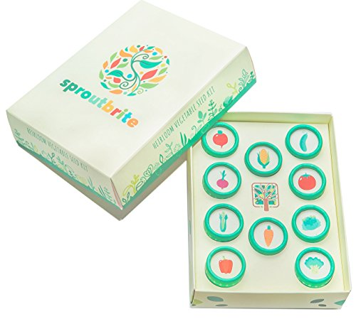 Sproutbrite Heirloom Vegetable Seed Kit For Home Gardening Including 10  Easy To Grow Varieties Of Non Gmo Open Pollinated Seeds