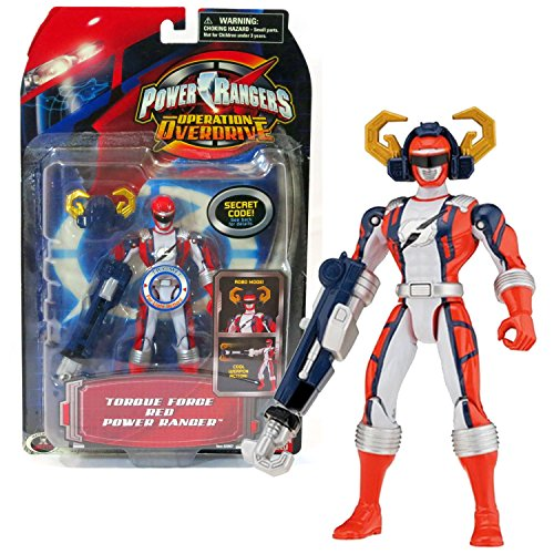 (Bandai Year 2006 Power Rangers Operation Overdrive Series 5-1/2 Inch Tall Action Figure - TORQUE FORCE RED POWER RANGER with Robo Mode Helmet and Weapon)
