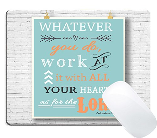Wknoon Christian Inspirational Quotes Bible Verses Scripture Mouse Pad, Colossians 3:23 Whatever you do work at it with all your heart as for the Lord Vintgae Wood Sign on the Wall (3 Colossians 23)