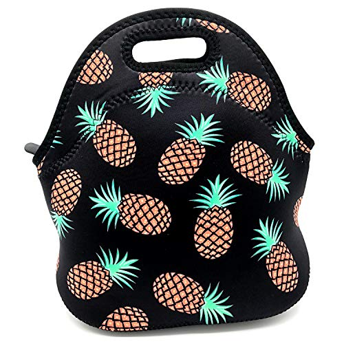 (Insulated Neoprene Lunch Bag Thick Insulated Lunch Tote Box with Heavy Duty Zipper for Women Men Adult Kids Teens Boys Teenage Girls Toddlers School (Pineapple))