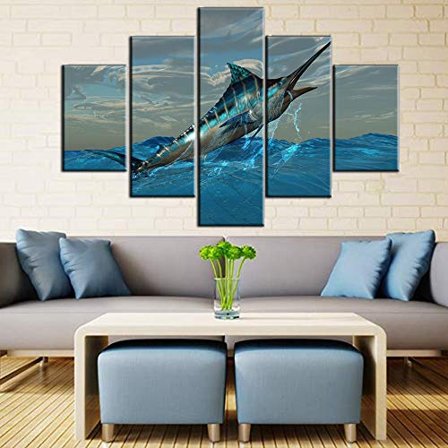 Fishing Wall Art for Living Room Big Blue Marlin Fish Picture Seascape Paintings 5 Piece Prints on Canvas Sealife Artwork Bedroom Home Decor Wooden Framed Gallery-Wrapped Ready to Hang(60''W x 40''H)