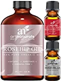 ArtNaturals Rosehip Oil, 100% Certified Organic, Pure Virgin, Cold Pressed/Unrefined, Best Natural Moisturizer to Heal Dry Skin, Fine Lines and Scars, Rose Hip Seed for Hair Face and Skin, 4oz.
