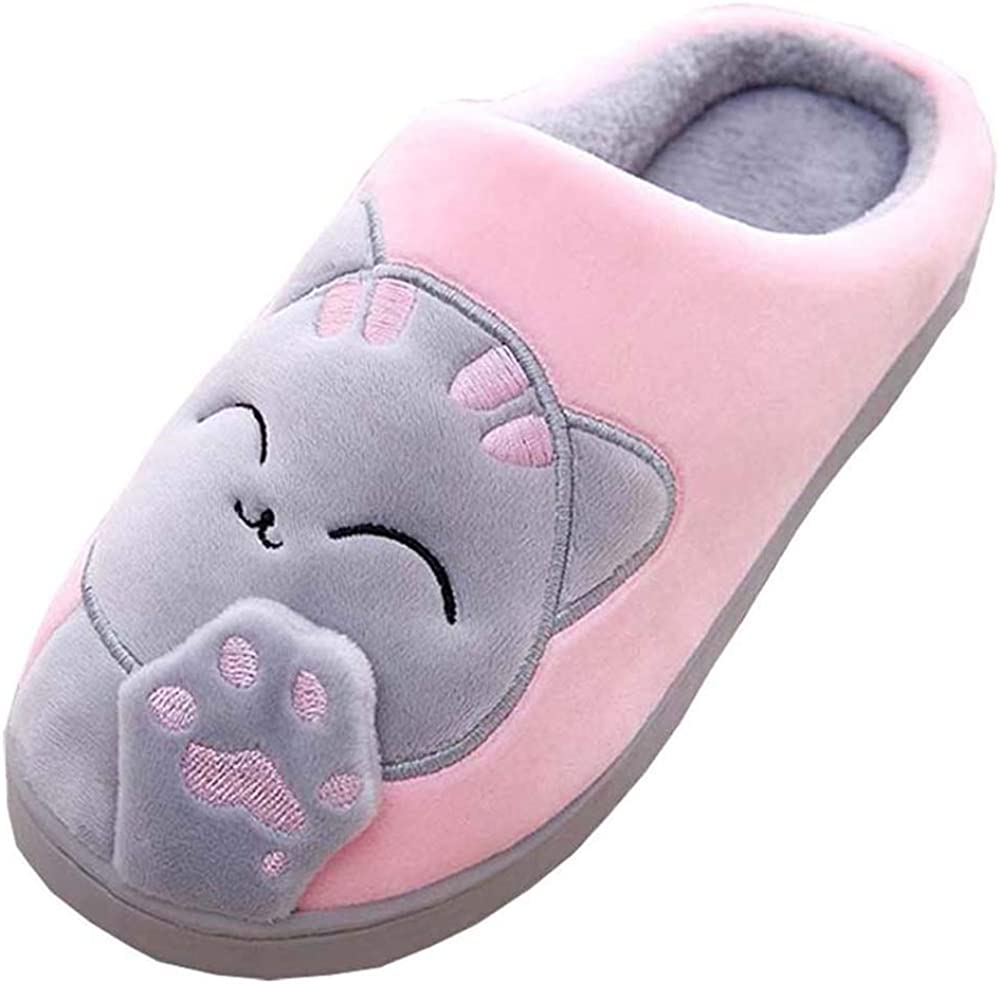 MOFEEDOUKA Women's and Men's Slippers Comfort Plush Cute House Lucky Cat Warm Indoor Home Shoes