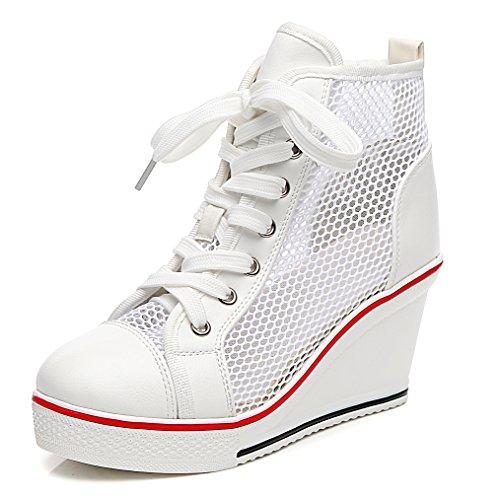 Solshine - Zapatillas Altas de Malla Mujer Blanco