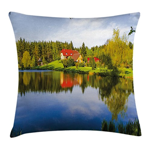 Riverside Deck Chair Set (Landscape Throw Pillow Cushion Cover by Lunarable, House in Forest Riverside Water Reflection Trees Outdoors Autumn Season Image, Decorative Square Accent Pillow Case, 26 X 26 Inches, Multicolor)
