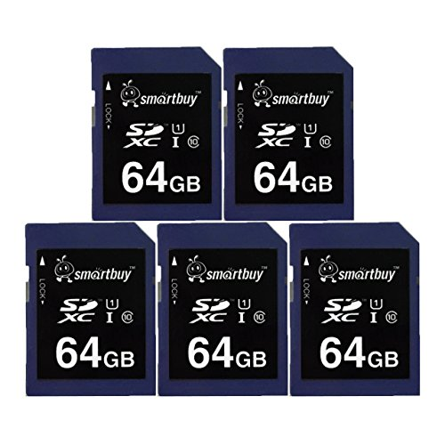Smart Buy SD XC Class 10 Memory Card SDXC C10 Ultra U1 UHS-I HD Fast Speed for Camera (64GB (5-Pack)) by Smart Buy