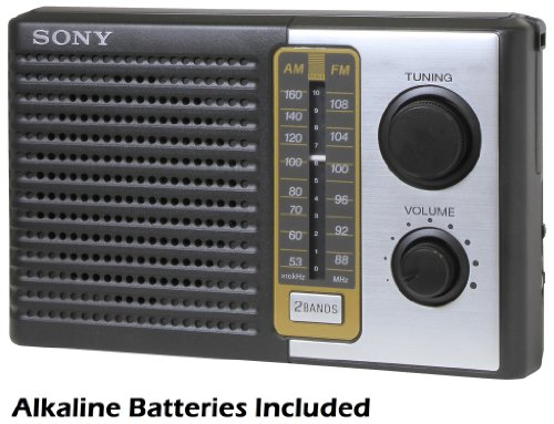 "Sony 2 Band Receiver Portable AM & FM Transistor Radio with Large Dial Panel, 3.75"" Speaker, Earphone Jack, Carry Strap, Easy Tuner Knob, Headphone Jack & Telescopic Ferrite Bar Swivel Antenna - Battery Powered - Batteries Included"