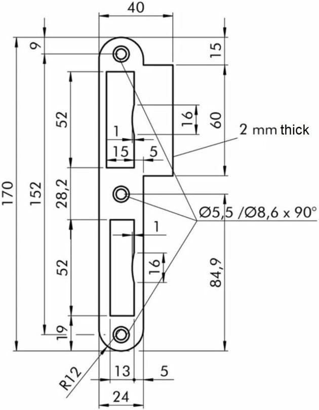 Premium Quality M4TEC ZB7 Limba Lacquered Steel Strike Locking Door Plate Suitable for Single /& Double-Turn Interior Flush Door Locks Durable /& Easy to Install Sturdy Elegant Design DIN R
