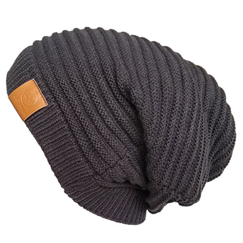 LETHMIK Functional Slouchy Beanie Unisex Skully Hat Warm Infinity Scarf in 3 Colors ,Gray,One Size (Elastic)