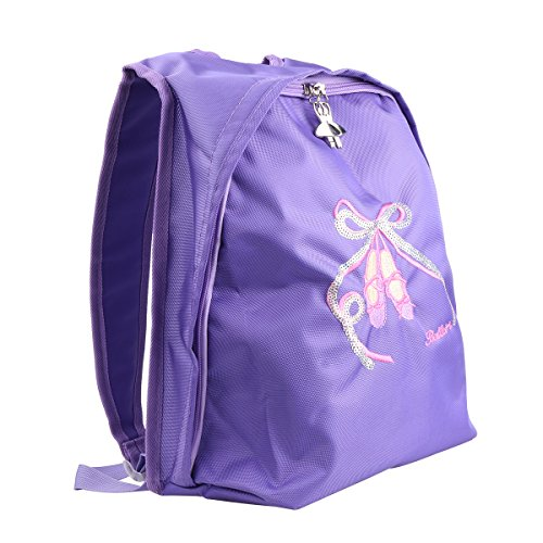 CHICTRY Kids Girls Ballet Shoes Embroidered Dance Shoulder Bag Dancing School Ballet Gym Backpack Purple 27.5 x 14.5 x 33.5cm