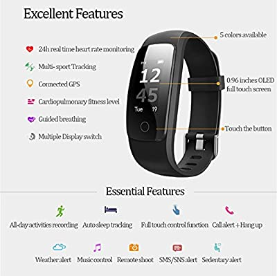 LiveFit HR Smart Fitness Tracker in Matte Black, App Enabled – 24/7 Heart Rate Monitor / IP67 Water-Resistant/Bluetooth 4.0 / Sleep & Activity Tracking, Compatible with Android and iOS