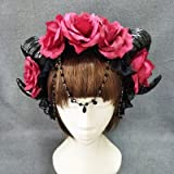 Gothic RAM Horns Headband Hair accessories Red Flowers Chain Crown Costumes Headdress Halloween Party Accessories Katoot (Style C)