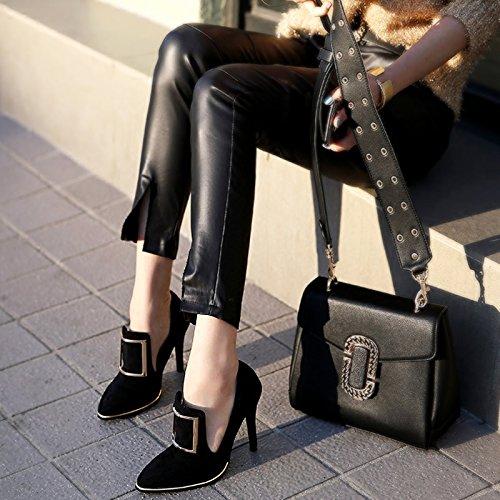 fibbia femminile Tacchi Scarpette quadrata moda Qiqi donna Xue British 36 singolo retro con nero fini alti da d6w8Exxvq5