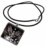 3dRose WhiteOak Goth Fairy Designs - Gothick Fairy Goth Fairy and Stars - Necklace With Rectangle Pendant (ncl_30597_1)