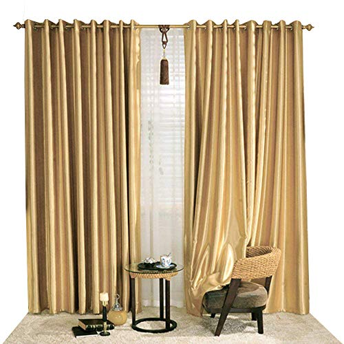 KoTing Blackout Golden Curtain Drape for Bedroom 1 Panel Gorgeous Solid Gold Curtain Grommet Top Drapes 84 inch Long 42 84]()