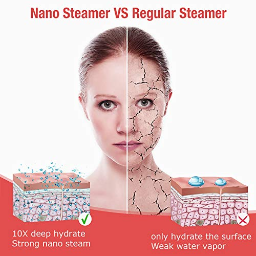 Facial Steamer,Nano Ionic Hot Steam Facial Sauna Face Humidifier Hydration Spa Unclogs Pores 15s Fast Steam Sprayer 150ml capacity for home and office -Bonus Acne Needle Set head band Mask brush