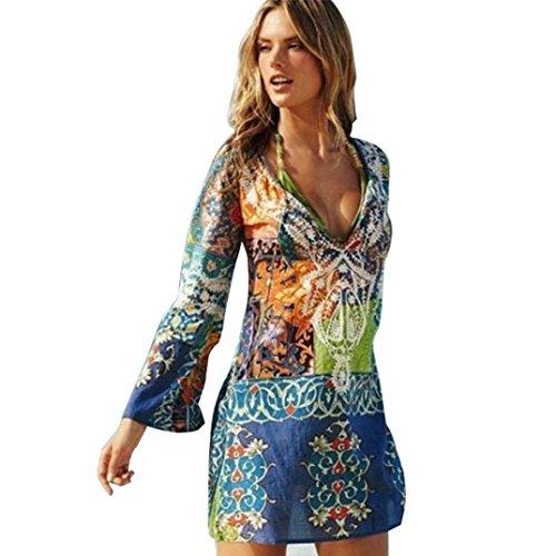 Luoluoluo Kimono Copricostume Copri Bikini di Chiffon per Donna,Costume da Bagno Sexy da Spiaggia Copricostume, Sopra il ginocchio, Mini, A-Line, V-Neck, Full Sleeve Colorato
