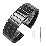 Solid Polished Glossy Ceramic Bracelet Quick Release 20mm Bamboo Style Watch Straps Black for Samsung Gear S2 Classic/Gear Sport/Fossil Q Gazer/Huawei Watch 2 - Fold-Over Buckle Ceramic Band