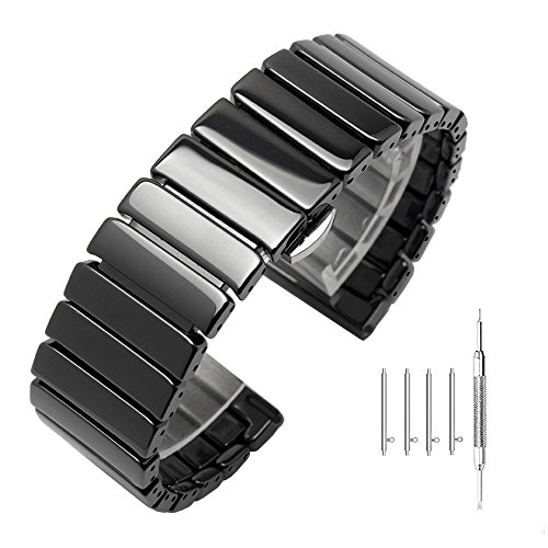 Solid Polished Glossy Ceramic Bracelet Quick Release 20mm Bamboo Style Watch Straps Black for Samsung Gear S2 Classic/Gear Sport/Fossil Q Gazer/Huawei Watch 2 - Fold-Over Buckle Ceramic Band by Kai Tian