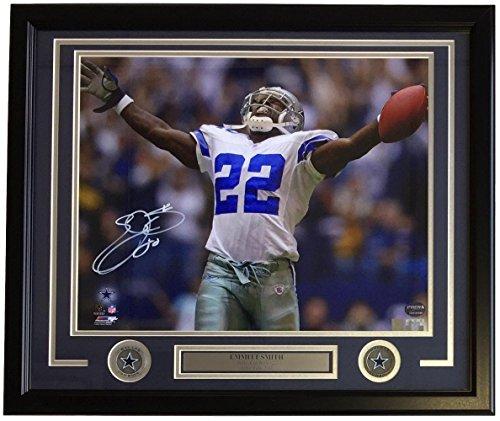 Signed Emmitt Smith Photo - Framed 16x20 Rush Record Prova+SI - Autographed NFL Photos