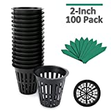 100-Pack 2 inch Garden Slotted Mesh Net Cups, Heavy Duty Net Pots w/25Pcs Plant Labels, Wide Lip Bucket Basket for Hydroponics