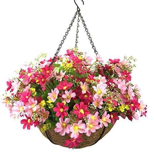 Lopkey Artificial Daisy Flowers Outdoor Indoor Patio Lawn Garden Hanging Basket with Chain Flowerpot,10 inch Red