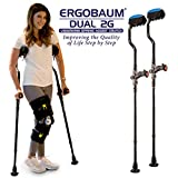 Ergobaum Dual Ergonomic Underarm Crutches (1 Pair) of Double-Function Shock Absorber Underarm Crutches with Arm Support