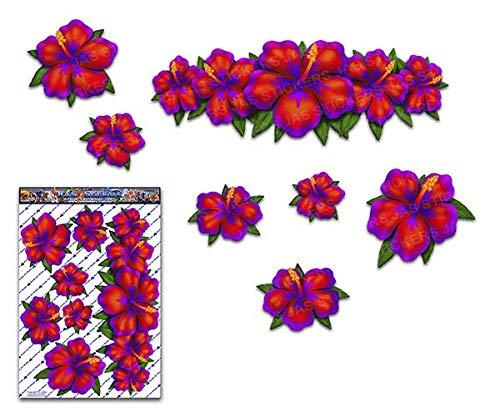 Groß Roter Hibiscus Blumen Satz Aufkleber Für Auto Lkw