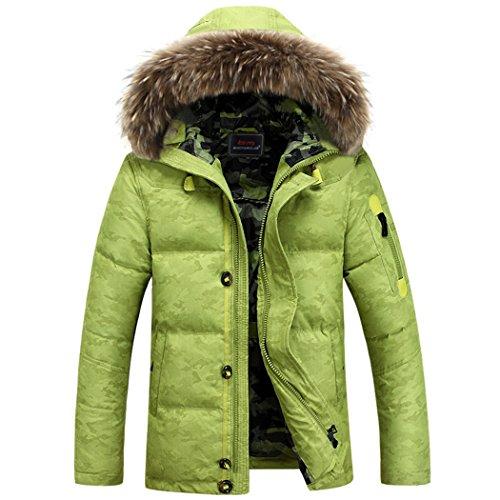 outdoor cap M hair short Winter green jacket collar leisure HHY down man Fluorescent gx6Otw1q0