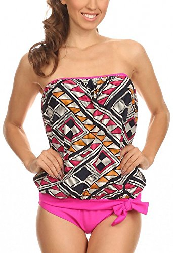 ToBeInStyle Women's Pink and Brown Stitches Bandeau Blouson Tie Tankini - 16 ()