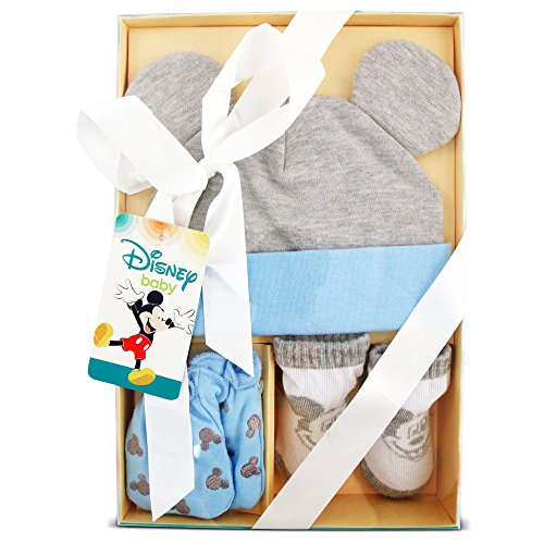 Disney Baby Boys Mickey Mouse Hat, Mitts and Socks Take Me Home Gift Set, Age 0-3M (Mickey Mouse Baby Shower Ideas)